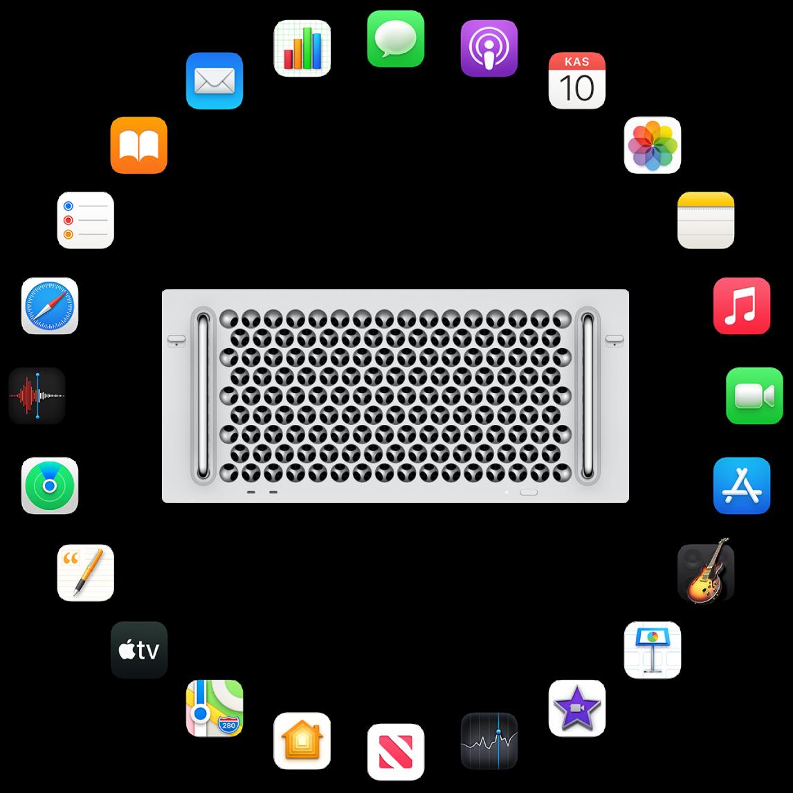 Aşağıdaki bölümlerde açıklanan yerleşik uygulamaların simgeleriyle çevrili bir Mac Pro.