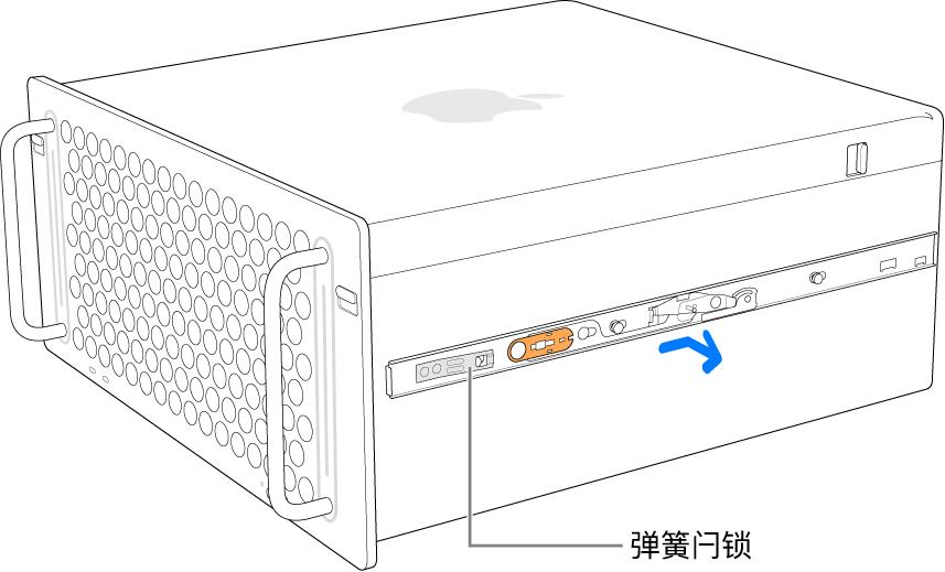 被从 Mac Pro 侧面卸下的导轨。