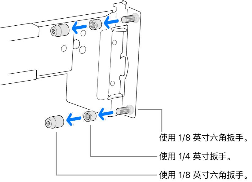安装在螺孔机架中的导轨套件。