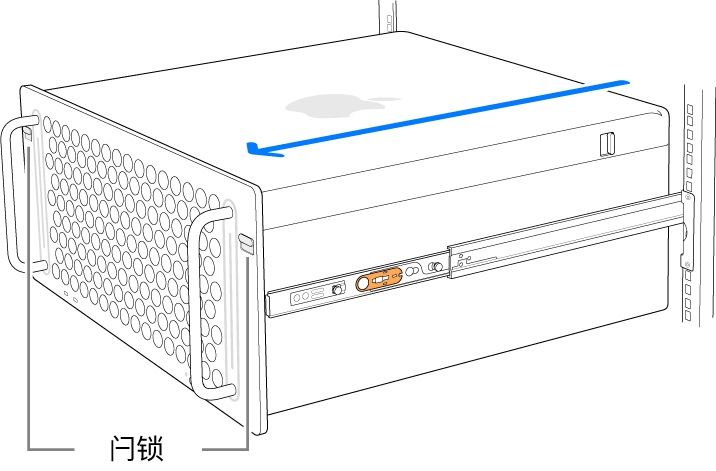 Mac Pro 放置在连接到机架的导轨上。