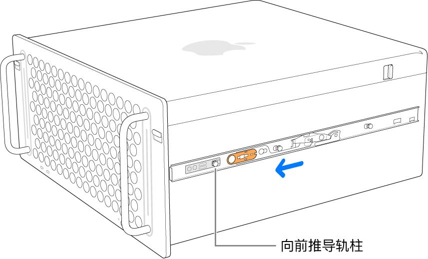 导轨向前滑动并锁定到位的 Mac Pro。
