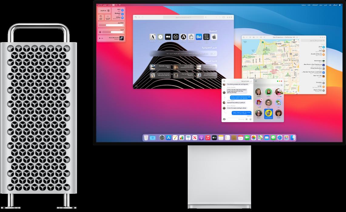 كمبيوتر MacProوشاشة ProDisplayXDR جنبًا إلى جنب.