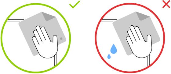 To billeder, der viser en rigtig og en forkert klud til rengøring af en skærm med glas med nanotekstur.