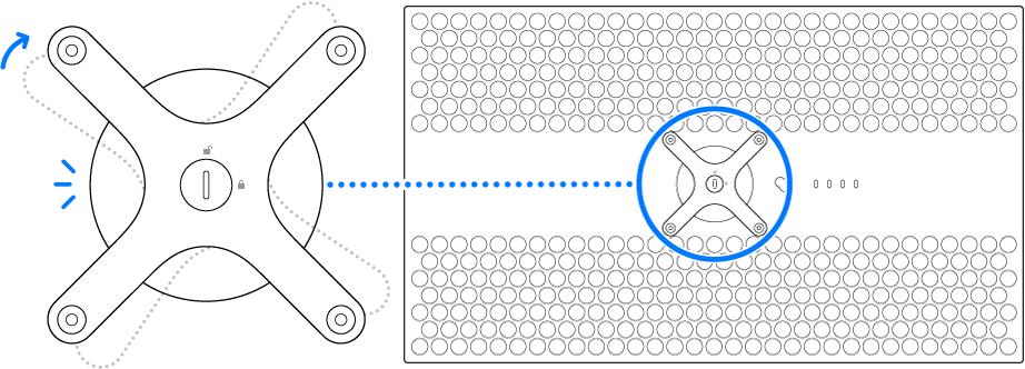 Der Adapter wird im Uhrzeigersinn gedreht.