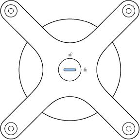 Ο προσαρμογέας προσαρτημένος στο πίσω μέρος της Pro Display XDR, με την κλειδαριά στην οριζόντια θέση.