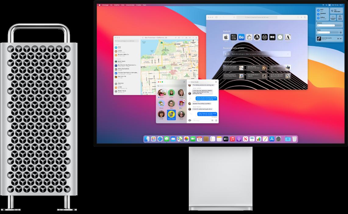 Mac Pro e Pro Display XDR uno accanto all'altro.