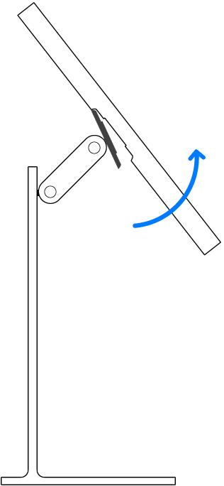 O monitor sendo desencaixado da base Pro Stand.