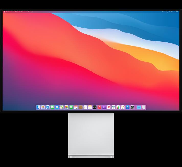 Um Pro Display XDR em uma Base Pro Stand.