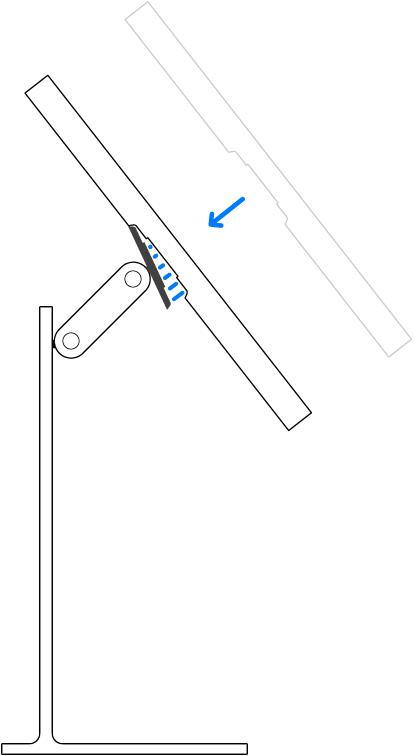 Inclinação do monitor antes de ser encaixado no conector no suporte.