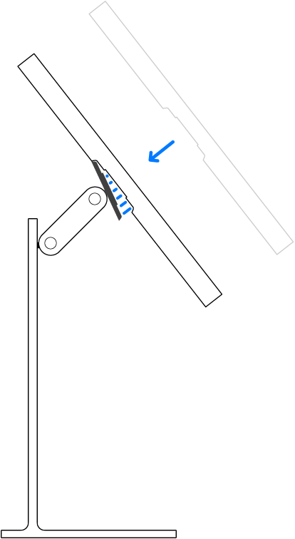 Înclinarea ecranului înainte de atașarea la conectorul pe suport.