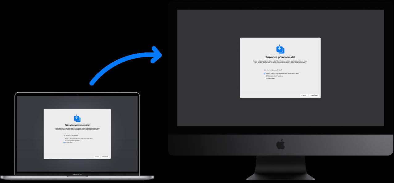 MacBook (starší počítač) soknem Průvodce přenosem dat, spojený siMacemPro (nový počítač), na němž se také zobrazuje okno Průvodce přenosem dat.
