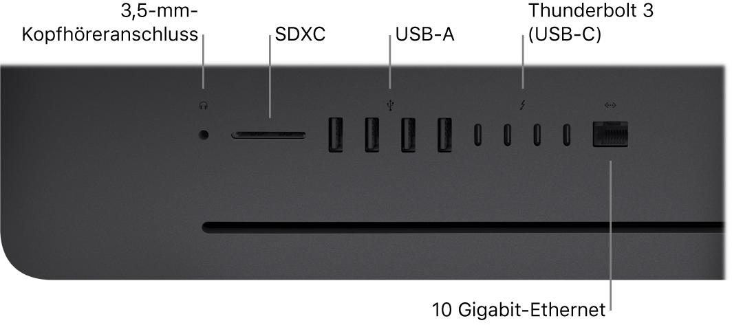 Ein iMacPro mit 3,5-mm-Kopfhöreranschluss, SDXC-Steckplatz, USBA-Anschluss, Thunderbolt3-Anschlüssen (USB-C) und Ethernetanschluss (RJ-45).