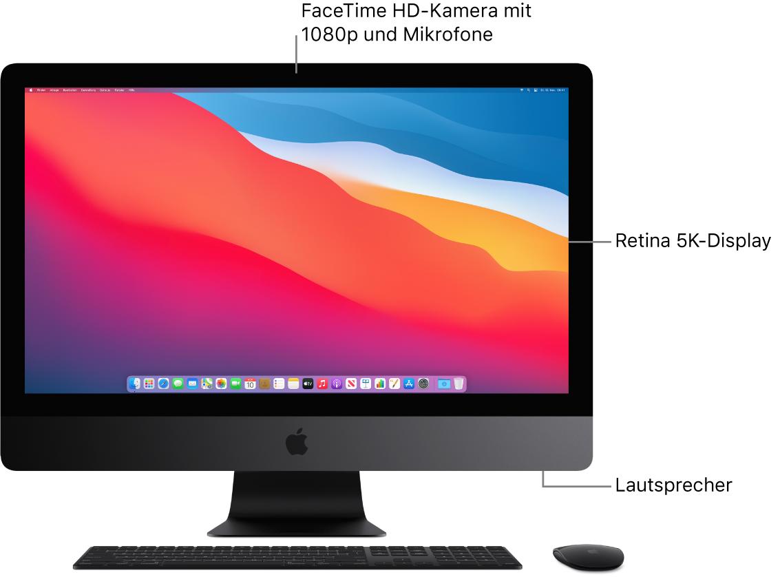 Vorderansicht des iMac Pro mit Bildschirm, Kamera, Mikrofonen und Lautsprechern.