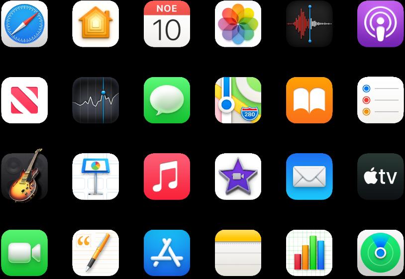 Εικονίδια των προεγκατεστημένων εφαρμογών του Mac.