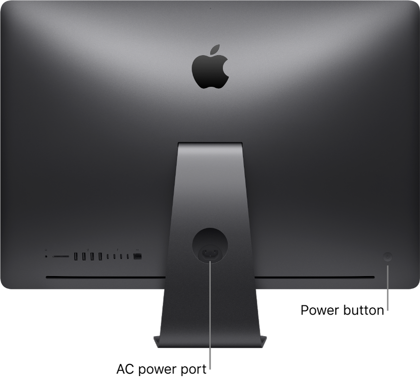 Back view of iMac Pro showing the AC power port and the power button.