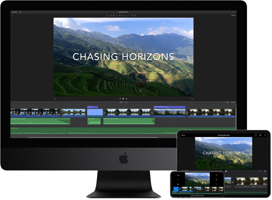 Identical content displayed on an iMac Pro, an iPad, and an iPhone.