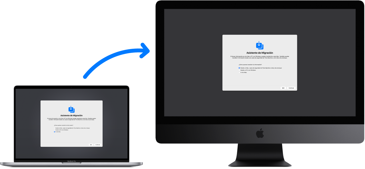 Un MacBook (ordenador antiguo) donde se muestra la pantalla de Asistente de Migración, conectado a un iMac Pro (ordenador nuevo), también con la pantalla de Asistente de Migración abierta.