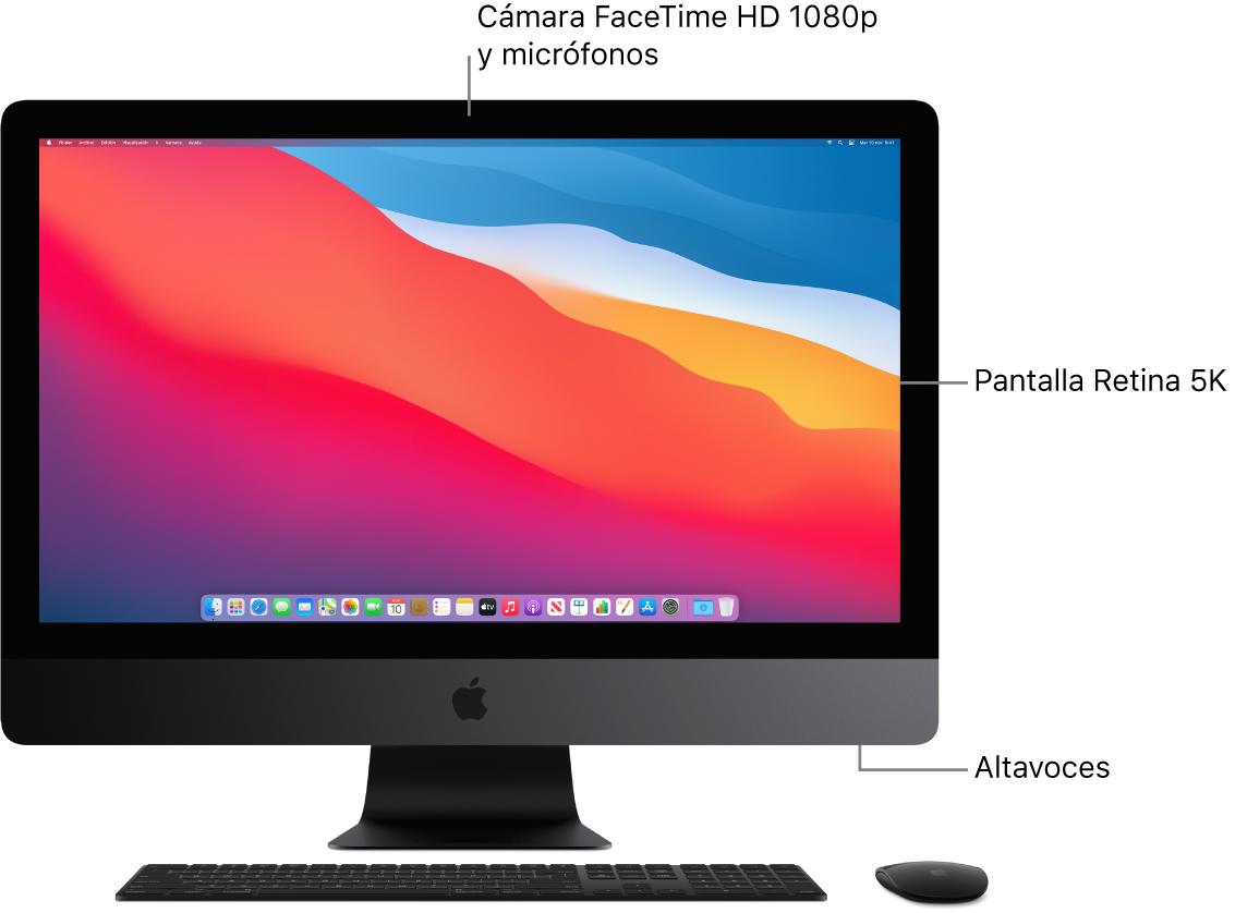 Vista delantera del iMac Pro con la pantalla, la cámara, los micrófonos y los altavoces.