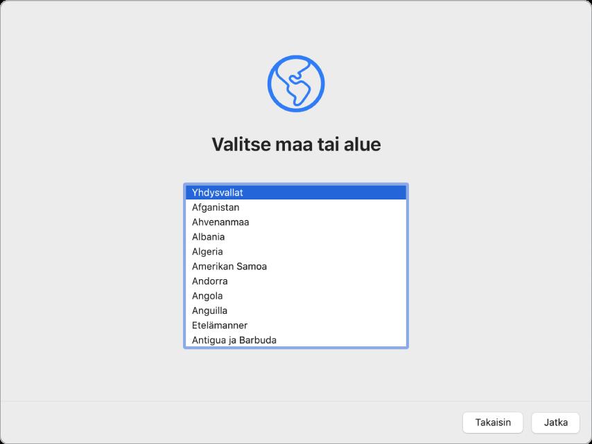 Macin näyttö, jossa näkyy Käyttöönottoapurin Tervetuloa-ikkuna.