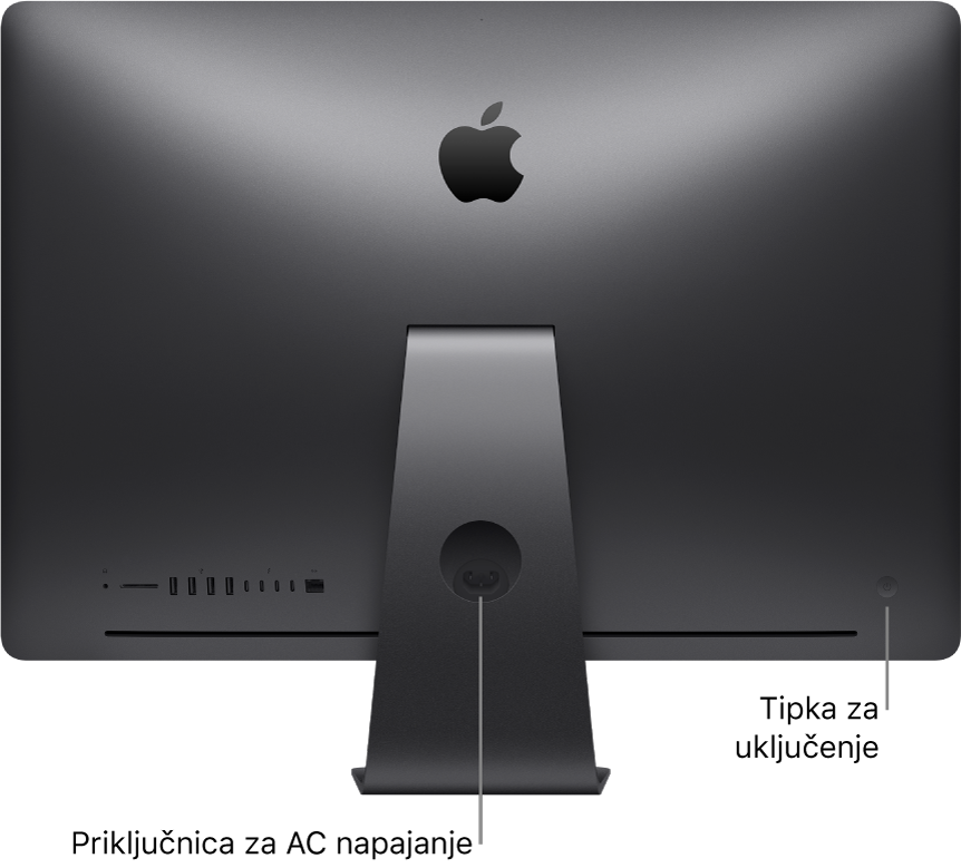 Prikaz stražnjeg dijela računala iMac Pro s priključnicom napajanja i tipkom za uključenje.