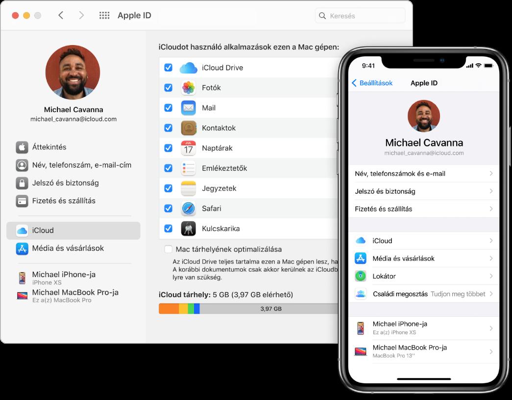 Egy iPhone, amely az iCloud beállításait jeleníti meg, és egy Mac képernyője, amelyen az iCloud ablaka látható.