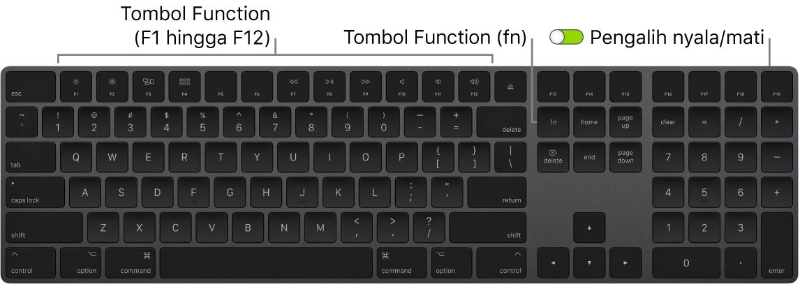 MagicKeyboard menampilkan tombol Function (Fn) di pojok kiri bawah dan pengalih nyala/mati di pojok kanan atas papan ketik.