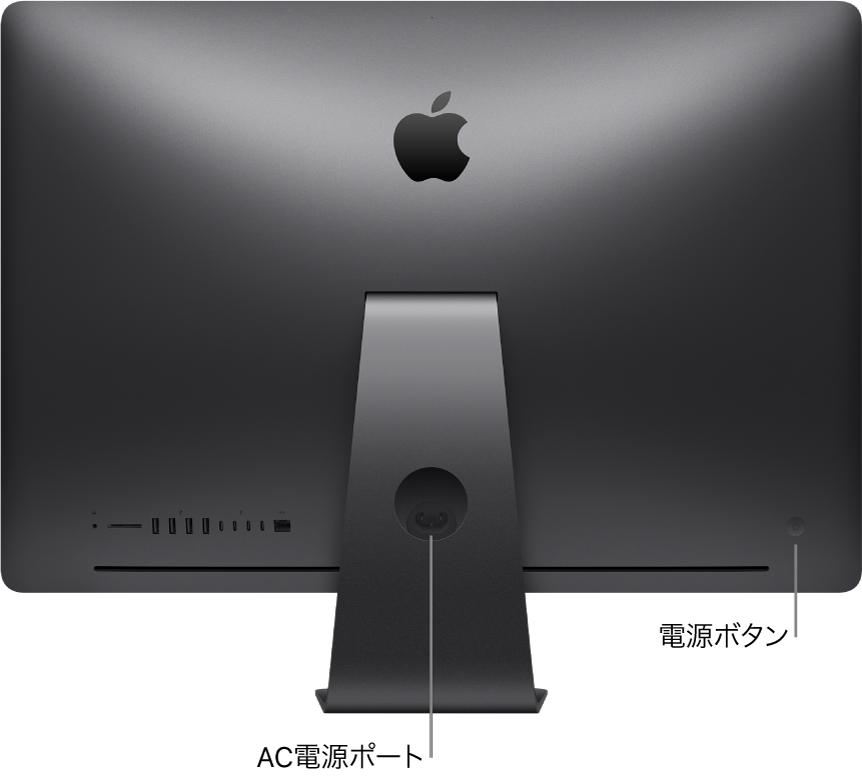 iMac Proの背面図。電源ポートと電源ボタンが示されています。