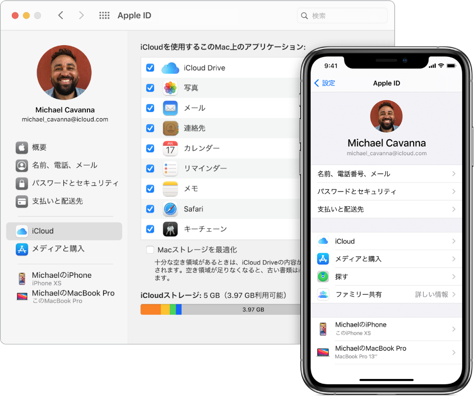 iPhoneのiCloud設定とMacの「iCloud」ウインドウ。