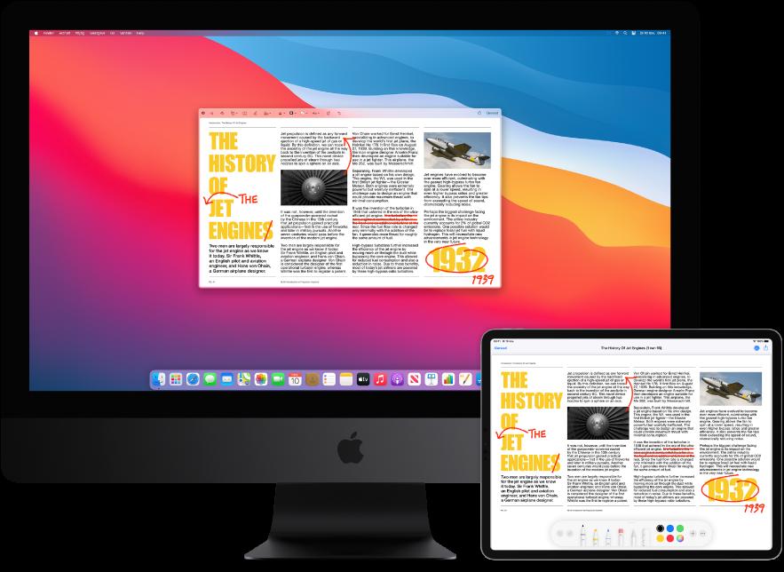 Een iMacPro en een iPad naast elkaar. Op beide schermen wordt een artikel weergegeven met rode markeringen zoals doorgestreepte zinnen, pijlen en toegevoegde woorden. Onder in het scherm van de iPad bevinden zich ook markeringsregelaars.