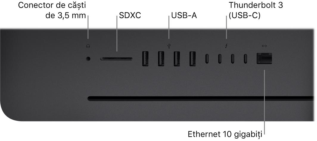 Un iMacPro, afișând conectorul de 3,5 mm pentru căști, slotul SDXC, porturile USB‑A, porturile Thunderbolt3 (USB‑C) și portul Ethernet (RJ‑45).