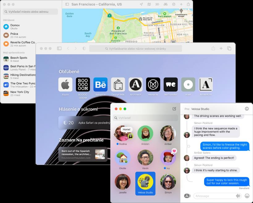 Prekrývajúce sa obrazovky apiek Mapy, Safari aSprávy.