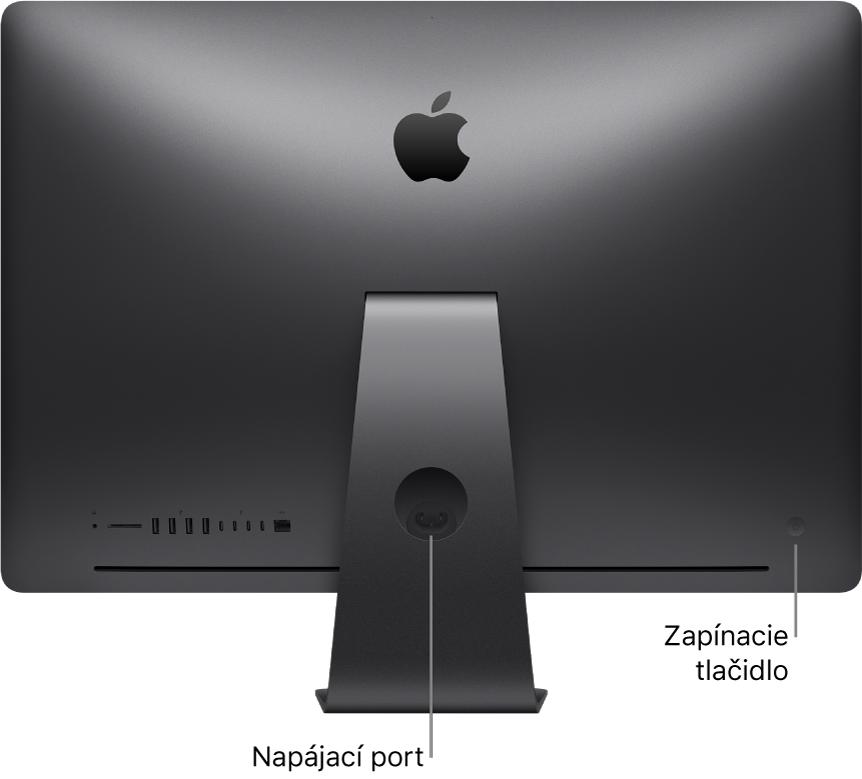 Pohľad na zadnú stranu iMacuPro snapájacím portom azapínacím tlačidlom.