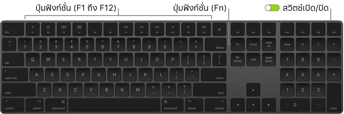 MagicKeyboard ที่แสดงปุ่ม Function (Fn) ที่มุมซ้ายล่างสุด และสวิตช์เปิด/ปิดเครื่องที่มุมขวาบนสุดของแป้นพิมพ์