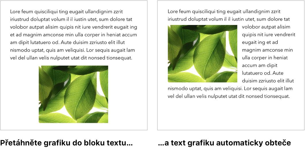 Okno Pages sukázkou zalomení textu okolo grafiky