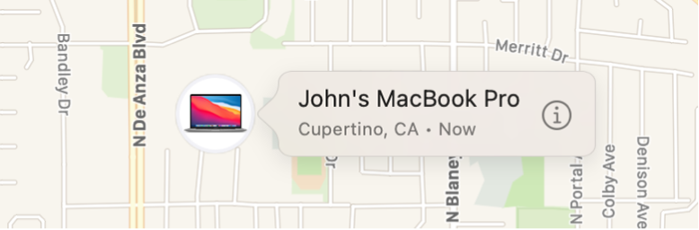 A close-up of the Info icon for John's MacBook Pro.