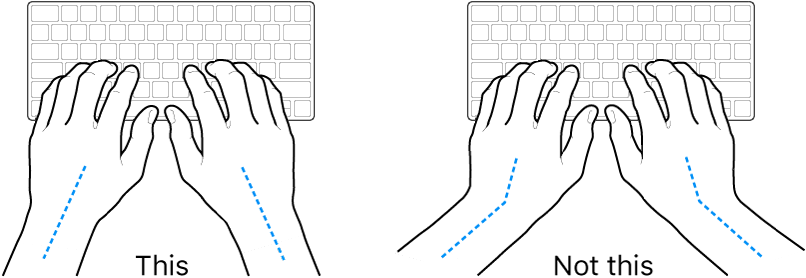 Hands positioned over a keyboard, showing correct and incorrect wrist and hand alignment.