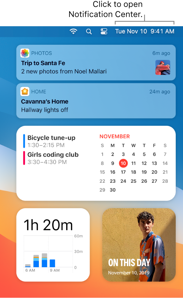 A partial desktop screen showing Notification Center open with the Today tab selected.