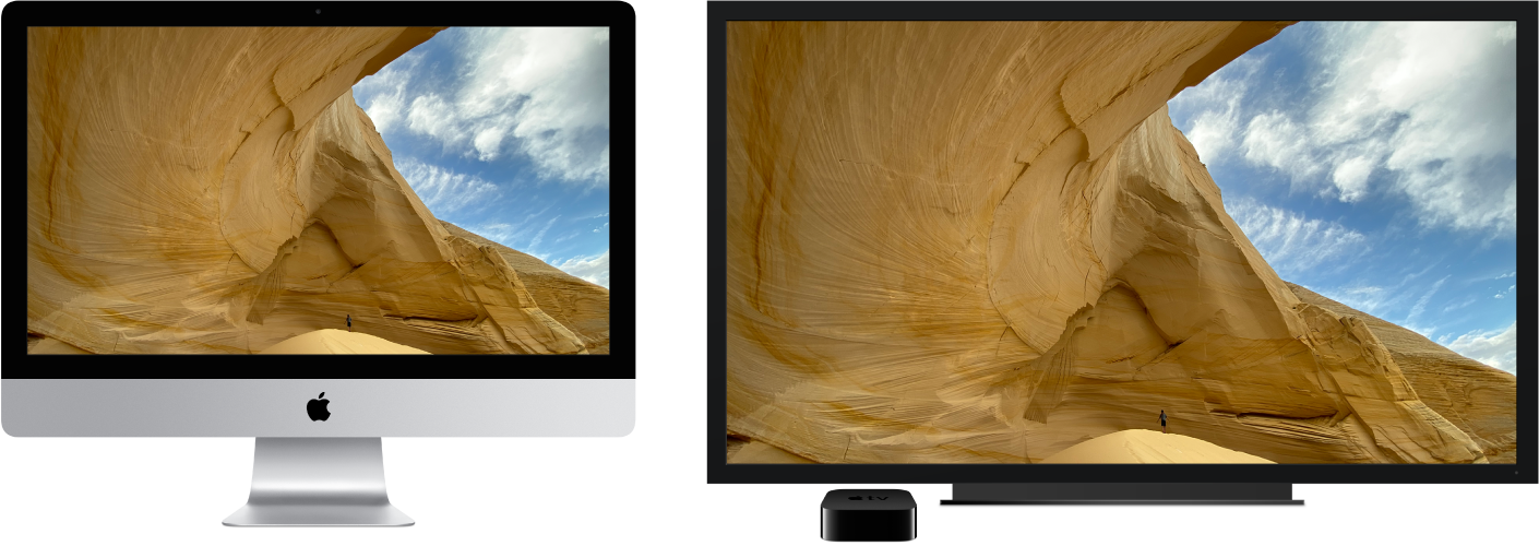 An iMac with its content mirrored on a large HDTV using an Apple TV.