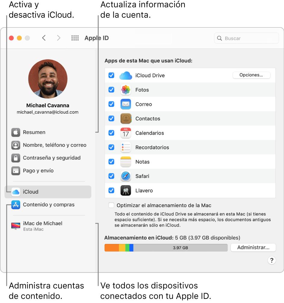 El panel AppleID de Preferencias del Sistema. Haz clic en un elemento en la barra lateral para actualizar la información de tu cuenta, activar o desactivar iCloud, administrar cuentas de contenido y ver todos los dispositivos en los que has iniciado sesión con tu AppleID.