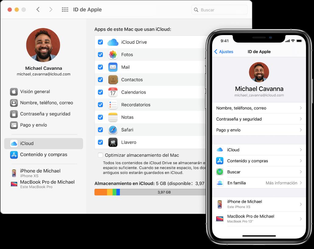 Ajustes de iCloud en un iPhone y la ventana de iCloud en el Mac.