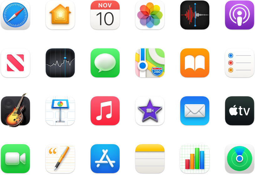 Icônes des apps fournies avec votre Mac.