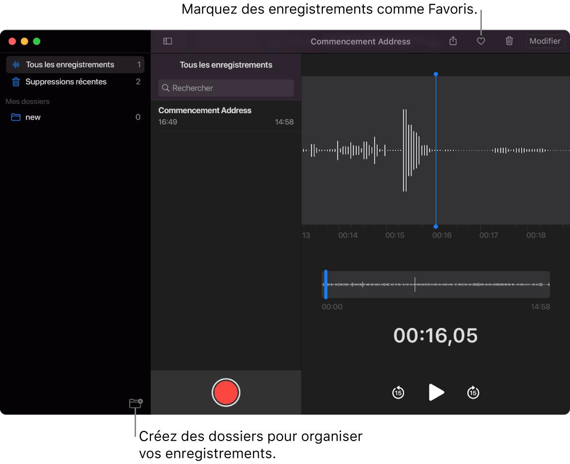 Fenêtre de Dictaphone montrant comment créer de nouveaux dossiers ou marquer des enregistrements comme favoris.