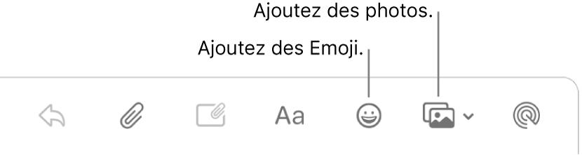 Une fenêtre Rédiger avec les boutons Emoji et Photos.