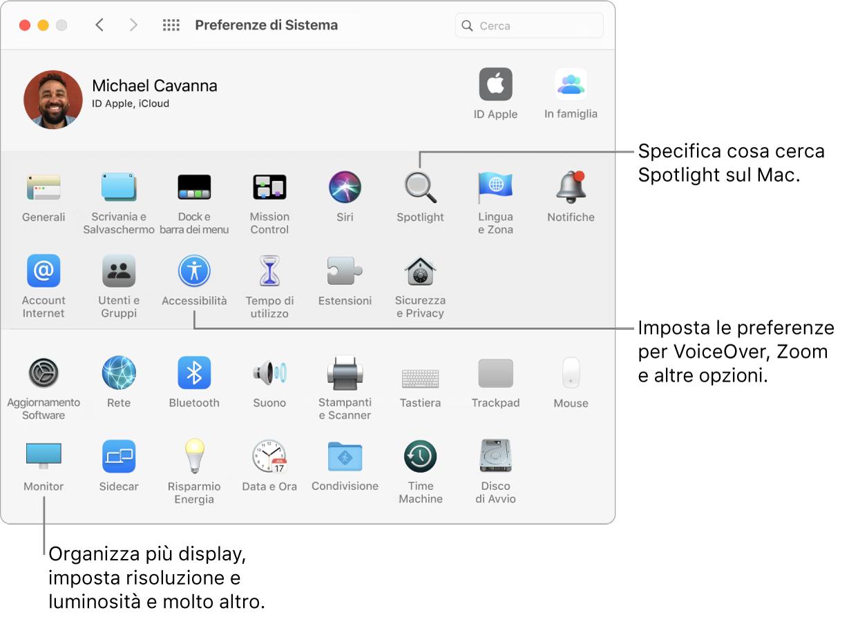 La finestra di Preferenze di Sistema.