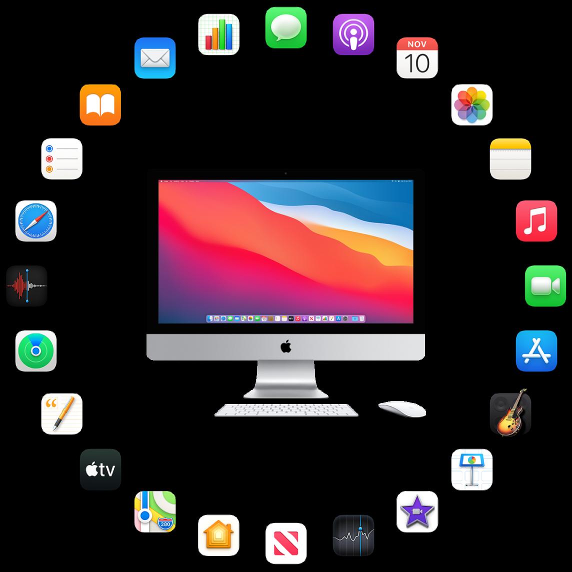iMac circondato dalle icone delle app integrate, descritte nelle sezioni successive.