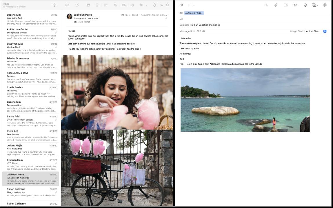 분할 화면으로 나란히 두 메시지가 표시되는 Mail 윈도우.
