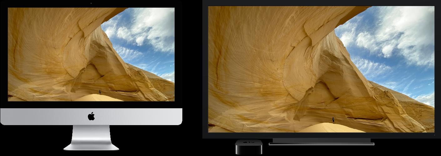 AppleTV를 사용하여 대형 HDTV에 콘텐츠가 미러링되어 있는 iMac.