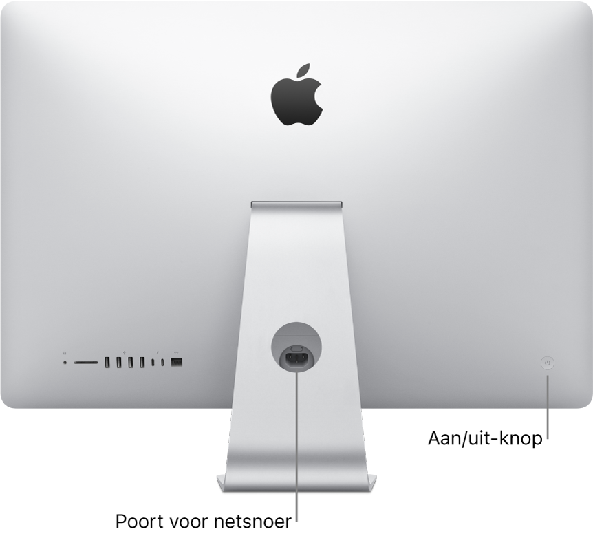 Achteraanzicht van de iMac met het netsnoer en de aan/uit-knop.