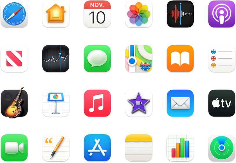 Symbolen van apps die met je Mac zijn meegeleverd.