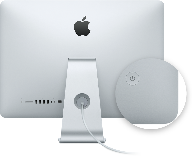 Achteraanzicht van het iMac-beeldscherm met de aan/uit-knop uitgelicht.